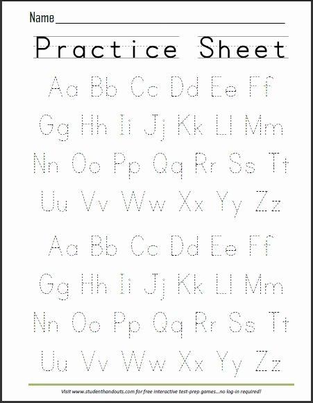 Writing Abc Worksheets for Preschoolers top Print Abcs Dashed Handwriting Practice Worksheet