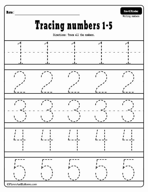 Writing Numbers Worksheets for Preschoolers Beautiful Numbers Tracing Worksheets Printable Preschool Writing Free