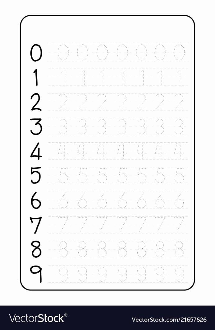 Writing Numbers Worksheets for Preschoolers Beautiful Practice Writing Numbers Worksheet Vector Image Number