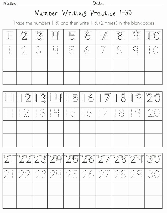 Writing Numbers Worksheets for Preschoolers top Numbers Worksheet for School Writing Number Practice