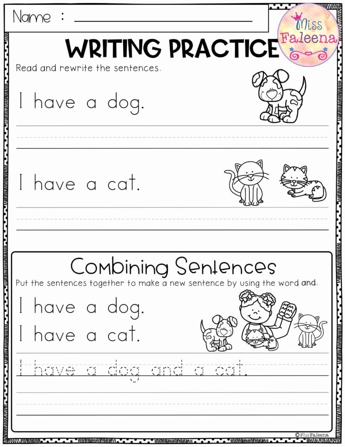 Writing Worksheets for Preschoolers Fresh Free Writing Practice Bining Sentences Sentence