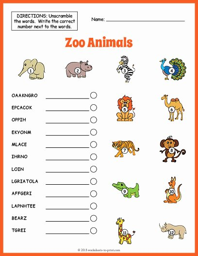 Zoo Animal Worksheets for Preschoolers Awesome Zoo Animals Vocabulary Worksheet