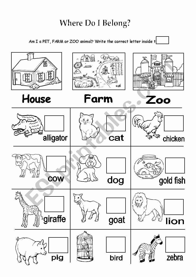 Zoo Animal Worksheets for Preschoolers Beautiful Pet Farm or Zoo Animals Esl Worksheet by Nainoche