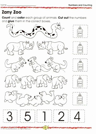 Zoo Animal Worksheets for Preschoolers Best Of Animal Number Count Worksheet 13