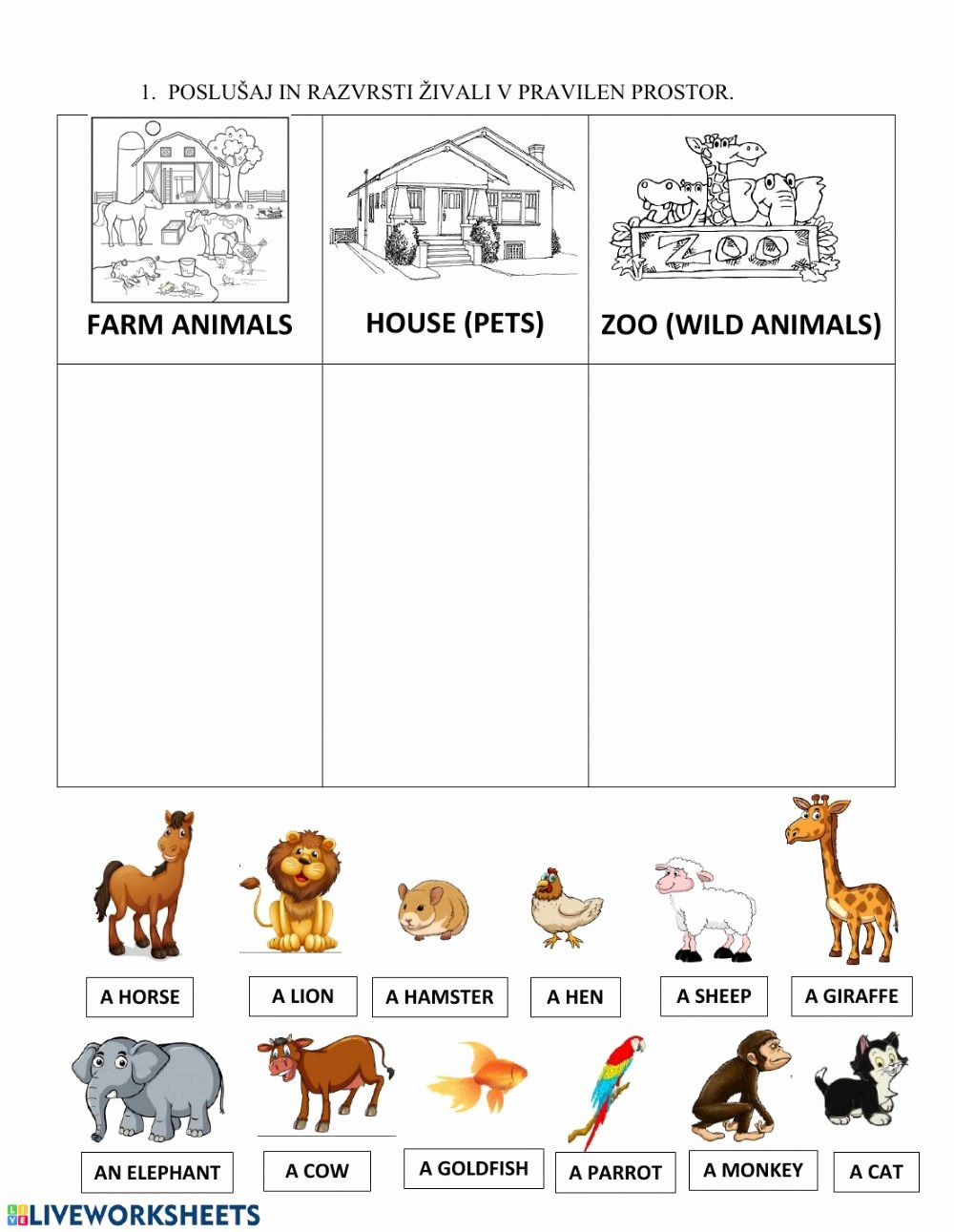 Zoo Animal Worksheets for Preschoolers Unique Animals Pet Farm Zoo Interactive Worksheet