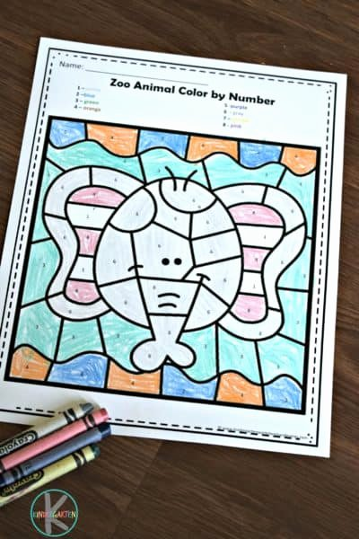 Zoo Worksheets for Preschoolers Awesome Free Zoo Animals Color by Number Worksheets for Kindergarten