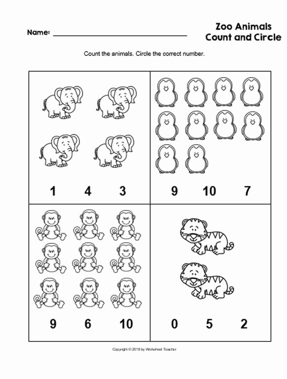 Zoo Worksheets for Preschoolers Beautiful 4 Printable Zoo Animals Count and Circle Numbers 0 10