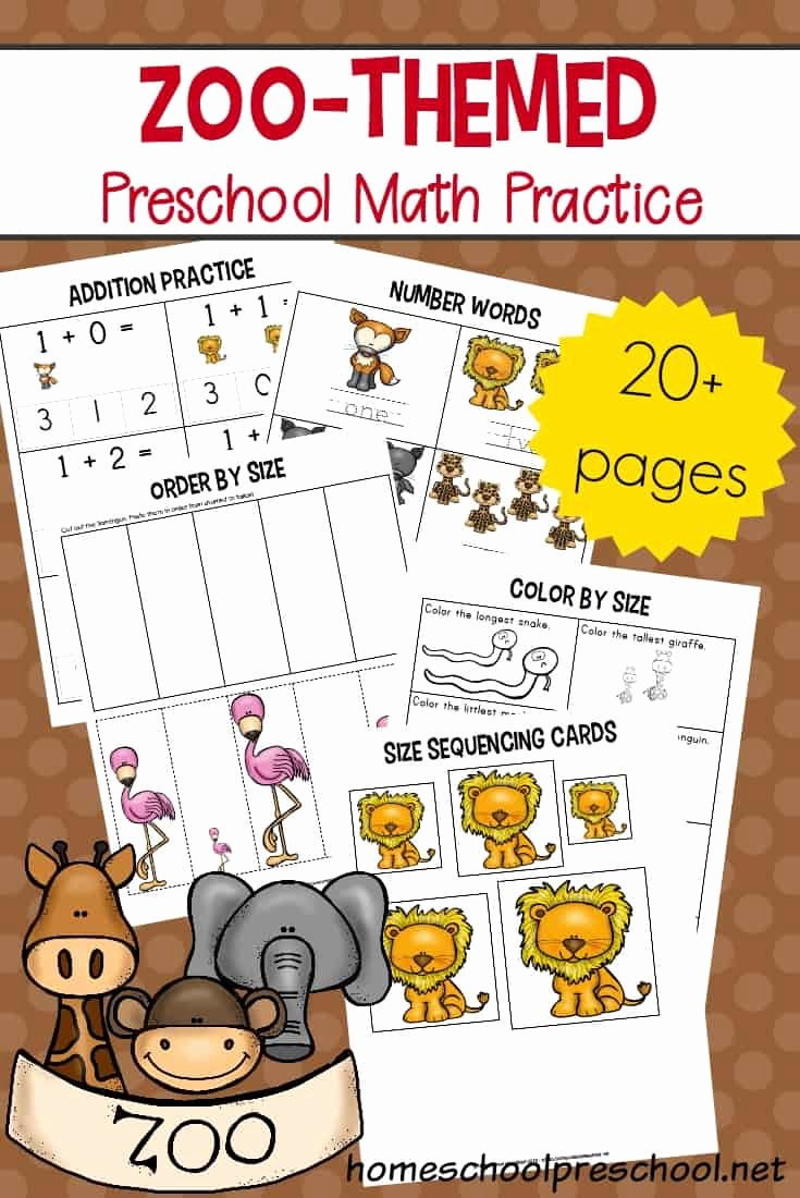 Zoo Worksheets for Preschoolers Best Of Free Printable Zoo Math Worksheets for Preschoolers