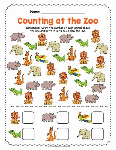 Zoo Worksheets for Preschoolers Unique Free Printable at the Zoo Counting Worksheet