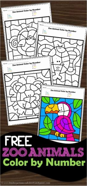 Zoo Worksheets for Preschoolers Unique Free Zoo Animals Color by Number Worksheets for Kindergarten