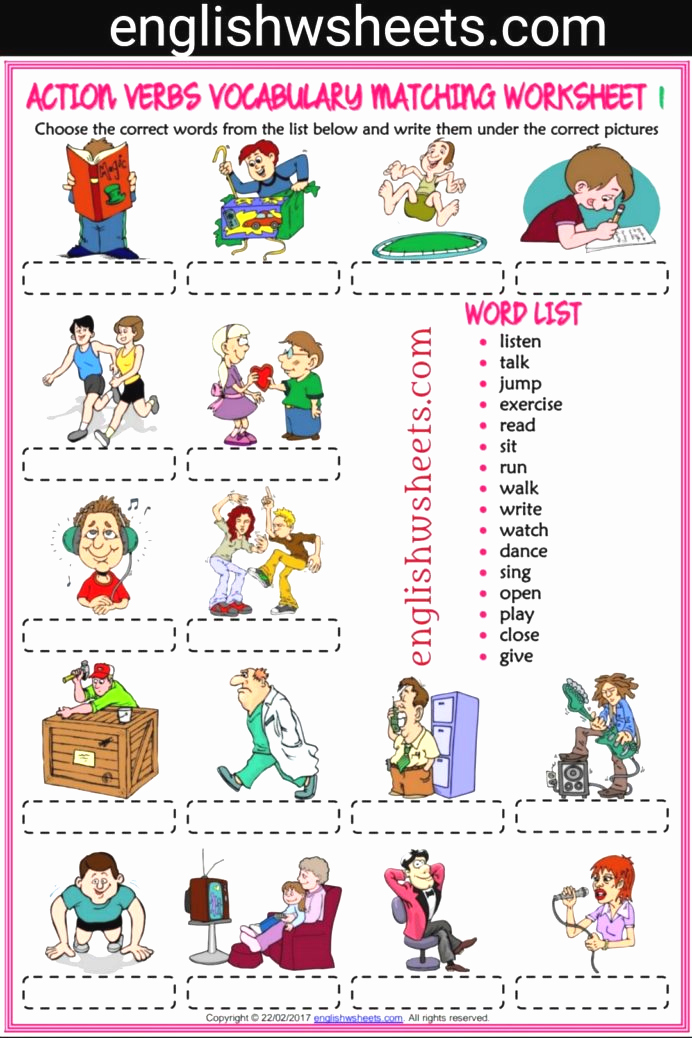Exercise Worksheets for Kids Awesome Action Verbs Esl Printable Matching Exercise Worksheets for