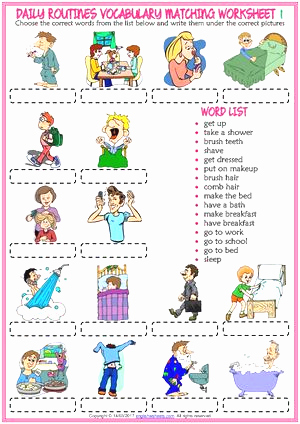 Exercise Worksheets for Kids New Calaméo Daily Routines Vocabulary Esl Matching Exercise