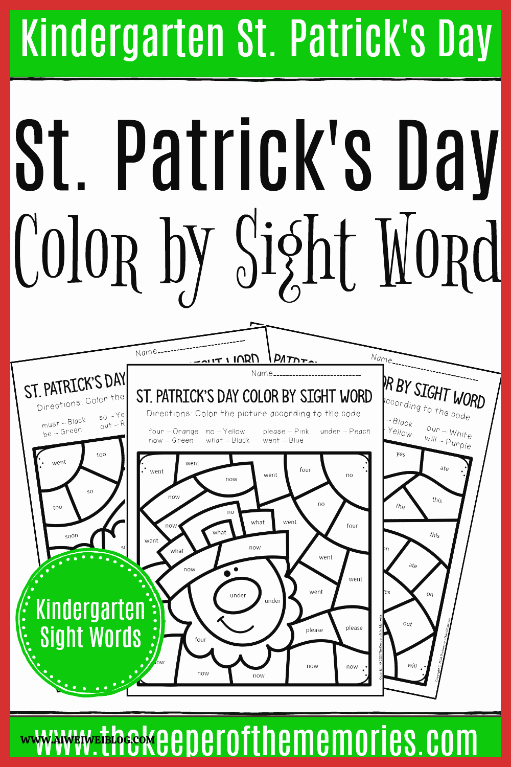 Patrick Day Worksheets for Kids Best Of Color by Sight Word St Patrick S Day Kindergarten