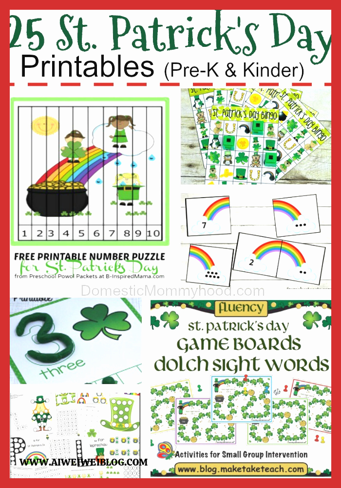 Patrick Day Worksheets for Kids Lovely Free Preschool Kindergarten St Patrick S Day Printables