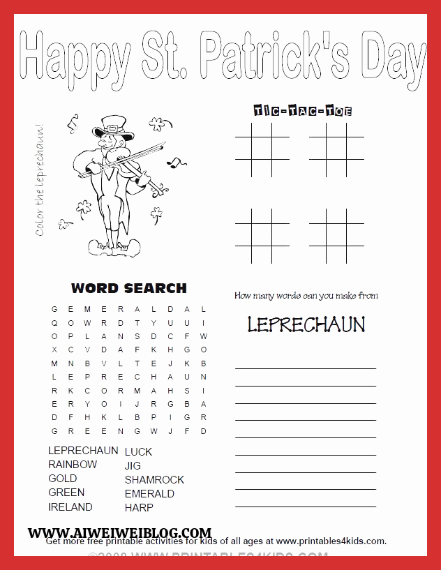 Patrick Day Worksheets for Kids Lovely Printable 4 In 1 St Patricks Day Activity Sheet