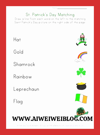 Patrick Day Worksheets for Kids top St Patrick S Day Matching Worksheet