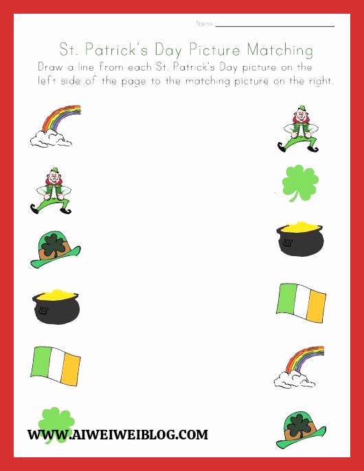 Patrick Day Worksheets for Kids Unique St Patrick S Day Matching Worksheet
